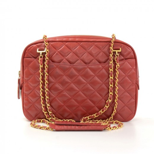 24d10f8fdc59 Vintage Chanel Red Quilted Leather Gold Tone Chain Shoulder Bag + Wallet