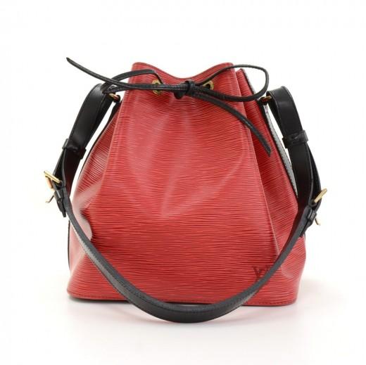 4e5c562891be Vintage Louis Vuitton Petit Noe Vio Red x Black Epi Leather Shoulder Bag