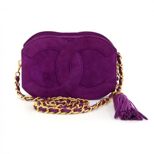 8d43a5dbcbb7 Vintage Chanel Purple Suede Fringe Shoulder Mini Bag. Condition: Excellent /