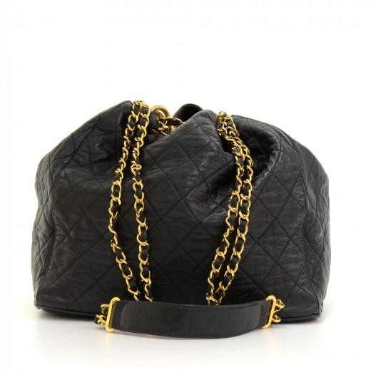 Vintage Chanel Black Quilted Leather Large Shoulder Bucket Bag. Condition   Great   55bd8a9894d13