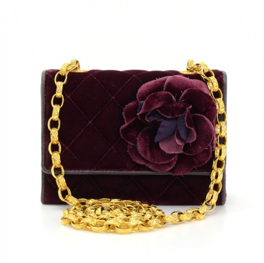 393d6bb9ff93 Chanel Chanel Burgundy Quilted Velvet Mini Flap Party Bag