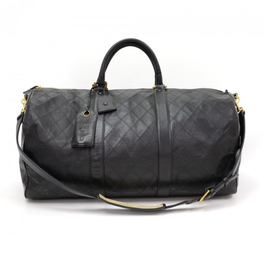 9a5b2327414ec3 Chanel Vintage Chanel Boston Black Quilted Caviar Leather Travel Bag ...