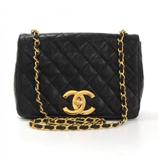 04859d4c6118 Chanel Vintage Chanel Black Quilted Leather Shoulder Flap Bag Large ...
