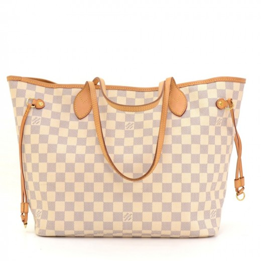 a69f61b348ce Louis Vuitton Louis Vuitton Neverfull MM White Damier Azur Canvas ...