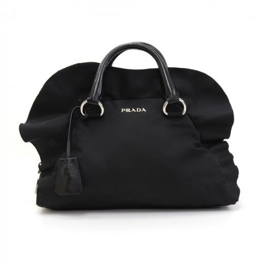 f9ca10f0893791 Prada Prada Ruffle Bauletto Black Nylon Hand Bag
