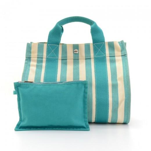 6cd7c1e6bbc7 Hermes Hermes Cannes PM Cyan x Ivory Canvas Tote Hand Bag.