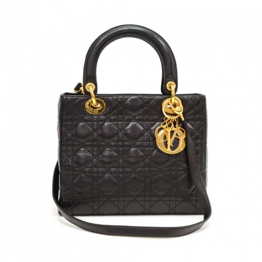cf8658dbbe61 Christian Dior Lady Dior 10inch Black Quilted Cannage Leather Hand Bag +  Strap