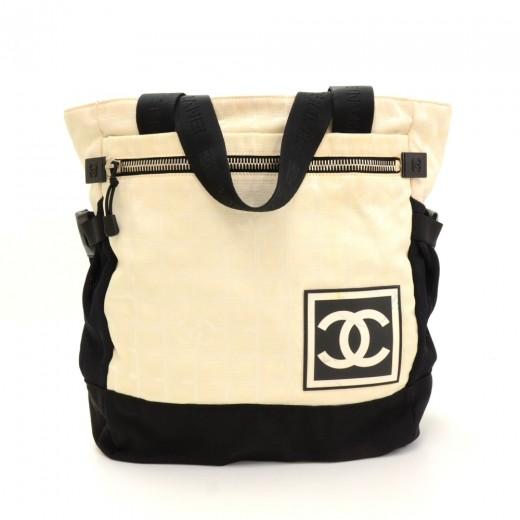 Chanel Chanel Travel Line Black x White Jacquard Nylon Tote Backpack ... 6ca386938ff04