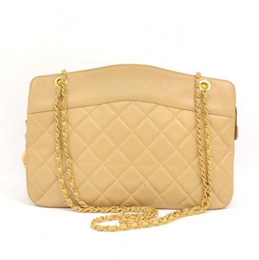 b26644e78d Chanel Chanel Beige Quilted Leather Large Tote Shoulder Bag + Pouch