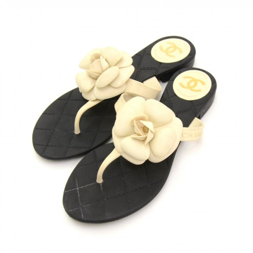 1c6a05a2c3e11 Chanel White Camellia Black Jelly Sandals Made In Italy Size 37