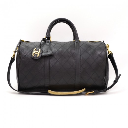 e40f118dee1f Chanel Chanel Boston Black Quilted Leather Travel Bag + Strap