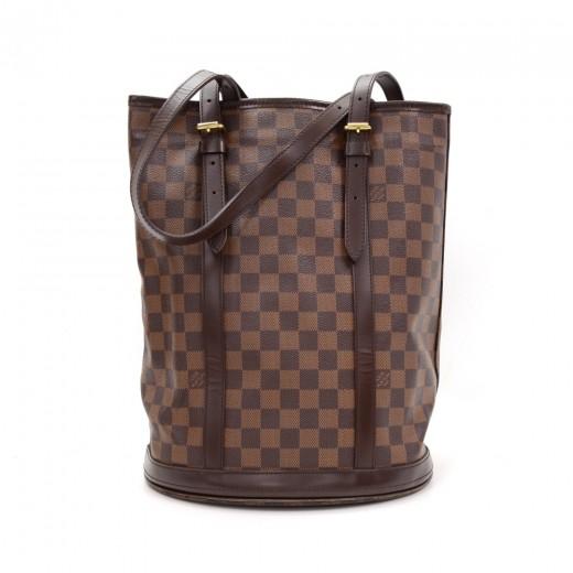 b100d9d502a6 Louis Vuitton Louis Vuitton Bucket GM Ebene Damier Canvas Shoulder ...