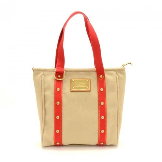e7d7fe493de3 Louis Vuitton Louis Vuitton Cabas MM Beige x Red Antigua Canvas Hand ...