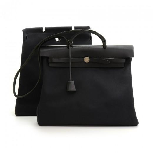 3e2e4092d Hermes Hermes Herbag MM 2 in 1 Canvas Leather Shoulder Hand Bag