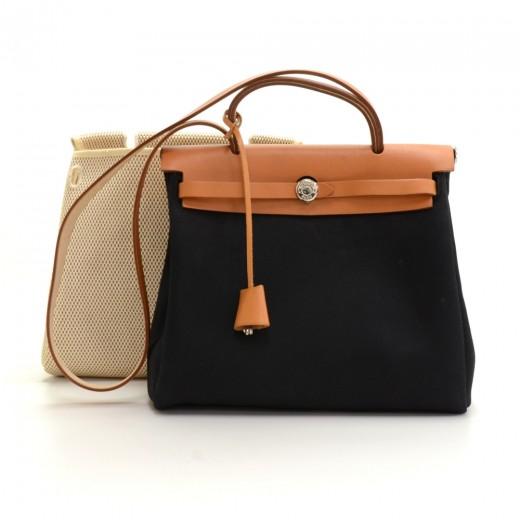 c912db1645ce Hermes Hermes Herbag PM 2 in 1 Canvas Brown Leather Shoulder Bag