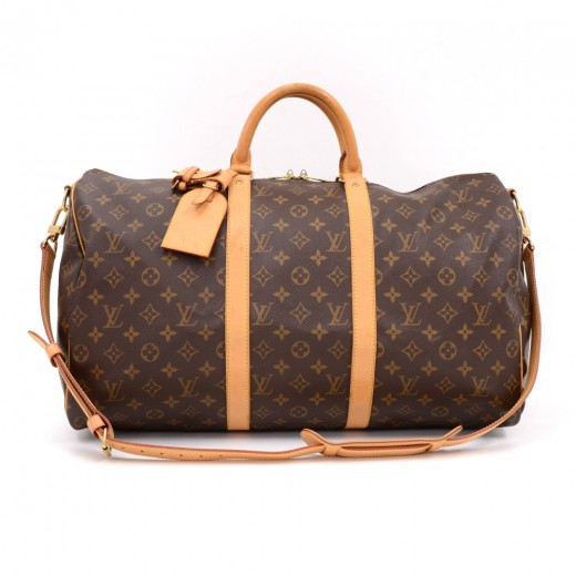 60e69bbde49fb Louis Vuitton Keepall 50 Bandouliere Monogram Canvas Duffel Travel Bag +  Strap