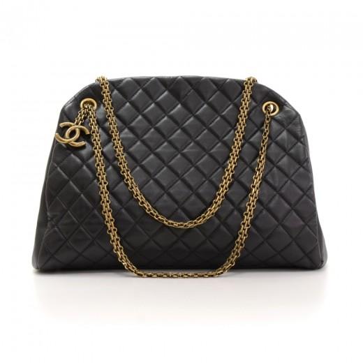 945761575220 Chanel Mademoiselle Black Quilted Calfskin Leather Shoulder Bowling Bag