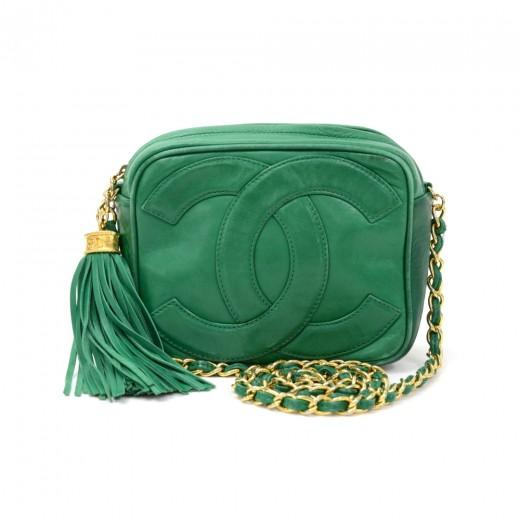 a0e072eccfaf Chanel Vintage Chanel Green Leather Fringe Shoulder Small Bag