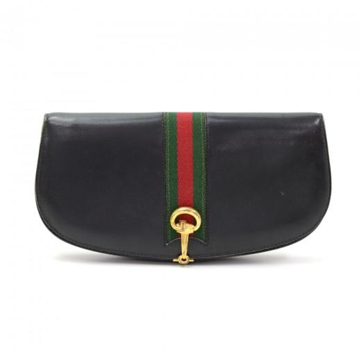 bd5b0df729c7 Gucci Vintage Gucci Black Leather Ribbon Clutch Bag