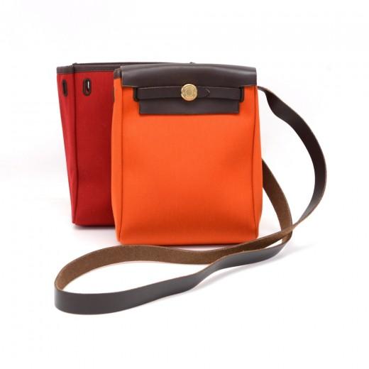 9d98df3f86f0 Hermes Herbag TPM Dark Brown Leather x Orange and Red Canvas Shoulder Bag