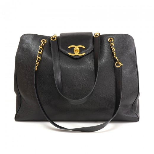 cfd385e22a95a4 Chanel Chanel Supermodel Black Caviar Leather Shoulder Tote Bag