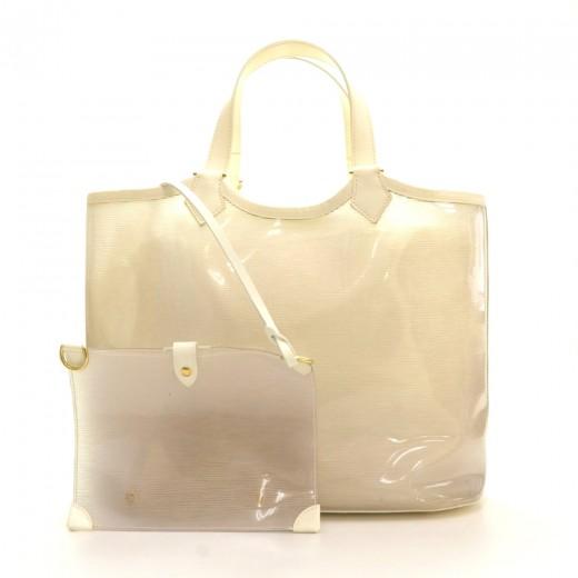 Louis Vuitton Louis Vuitton Plague Lagoon MM White Vinyl Beach Tote ... 73eebe402d1fa