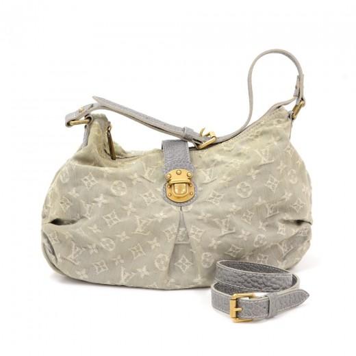 Louis Vuitton Slightly Gray Gris Monogram Denim Shoulder Bag gUfOA2M2