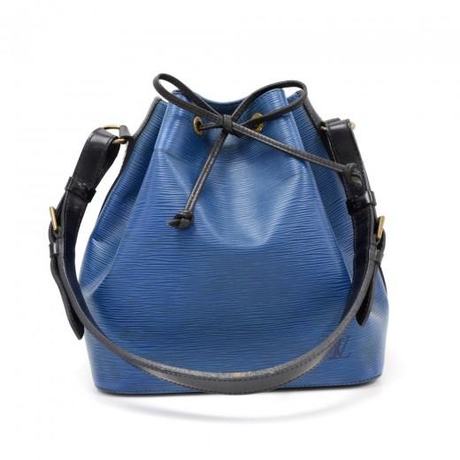 93d9db405d37 Vintage Louis Vuitton Petit Noe Vio Blue x Black Epi Leather Shoulder Bag
