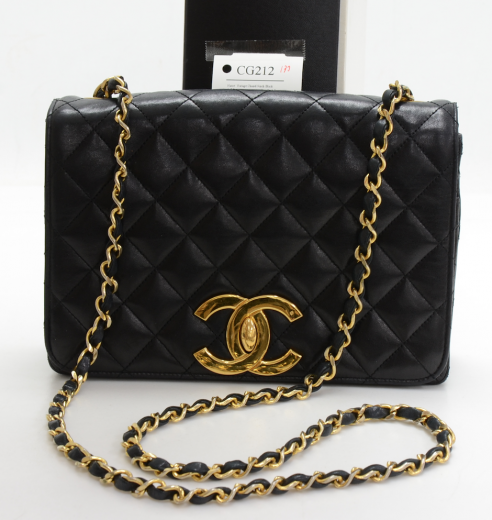 2d06c67afe541c Chanel Vintage Chanel 9inch Black Quilted Leather Shoulder Flap Bag ...
