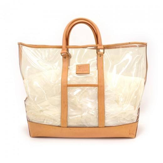 ebafdb8ce1 Vintage Louis Vuitton Isaac Mizrahi Clear Vinyl x Leather Limited Tote Bag