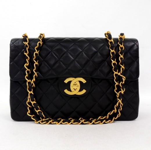 d1936f83886c7 Chanel Vintage Chanel Black Quilted Leather Shoulder Jumbo Maxi Bag ...