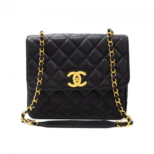 a4213ea92658 Chanel Black Quilted Caviar Leather Shoulder Flap Bag Large CC Logo.  Condition: Excellent / SKU: CG188. Tap to zoom