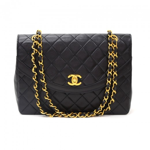 e96e72be8fce Vintage Chanel 10inch Tall Classic Flap Black Quilted Leather Shoulder Bag