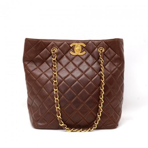Chanel Vintage Chanel Dark Brown Quilted Leather Tote Shoulder Bag ... 8e57cdfa65192