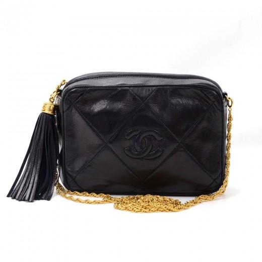 Chanel Vintage 7 Black Quilted Leather Fringe Shoulder