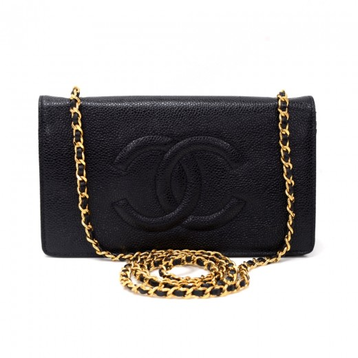 fd7b12830432 Chanel Vintage Chanel Black Caviar Leather Wallet On Long Shoulder ...