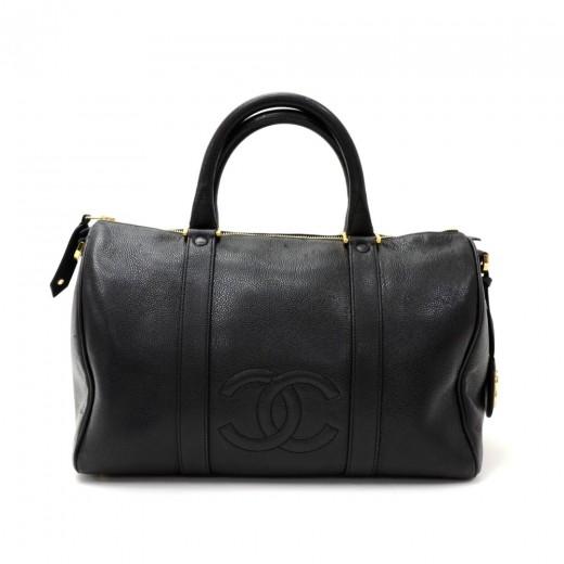 ced5de142d23 Chanel Vintage Chanel Boston Speedy Black Caviar Leather Hand Bag