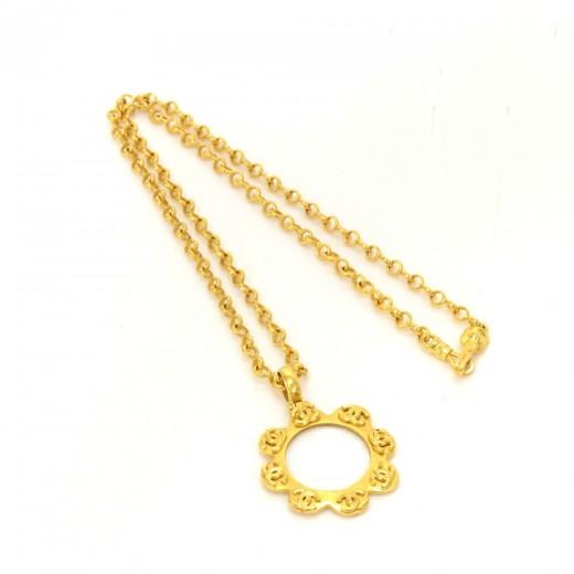 Chanel Cc Gold Tone Flower Motif Pendant Necklace DTMSDC43