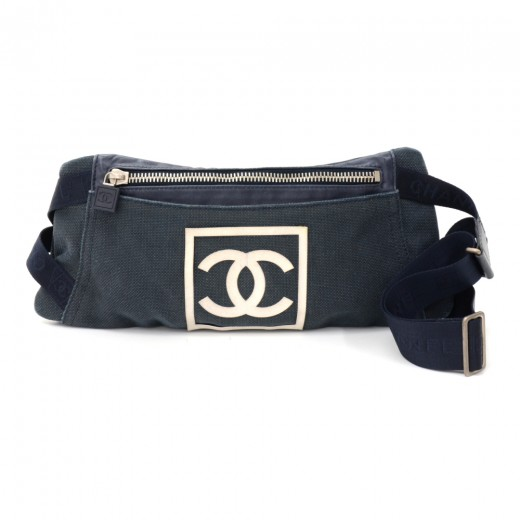 1b0bbd174e3ace Chanel Chanel Sports Line Navy Canvas Waist Pouch Bag