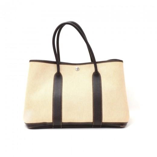 f22994ef6249 Hermes Hermes Garden Party PM Black Leather Beige Canvas Hand Bag