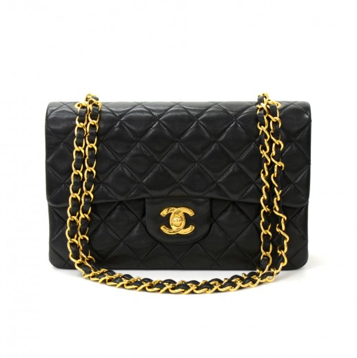a96ece545156 Vintage Chanel 2.55 9 inch Double Flap Black Quilted Leather Shoulder Bag