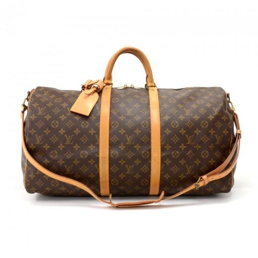 c0eda19f7281 Vintage Louis Vuitton Keepall 55 Bandouliere Monogram Canvas Duffel Travel  Bag + Strap