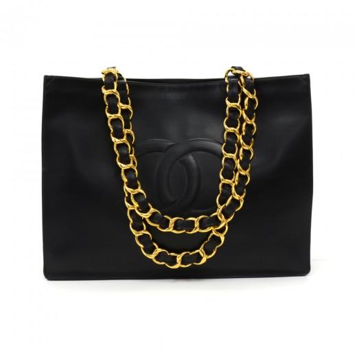 b1cdbeee8edaa8 Chanel Vintage Chanel Jumbo XL Black Leather Shoulder Shopping Tote ...
