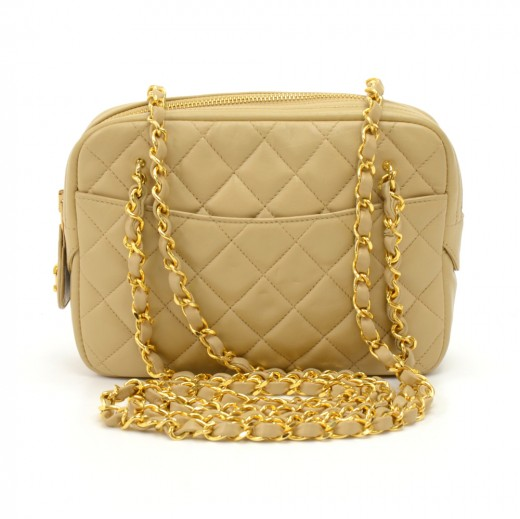 2850f53bc171ba Vintage Chanel Small Beige Quilted Lambskin Leather Double Chain Shoulder  Bag