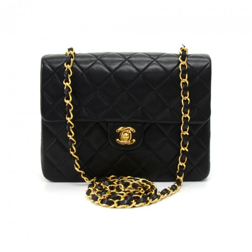 1778a768ba58 Chanel Vintage Chanel 8 inch Mini Black Quilted Leather Shoulder ...