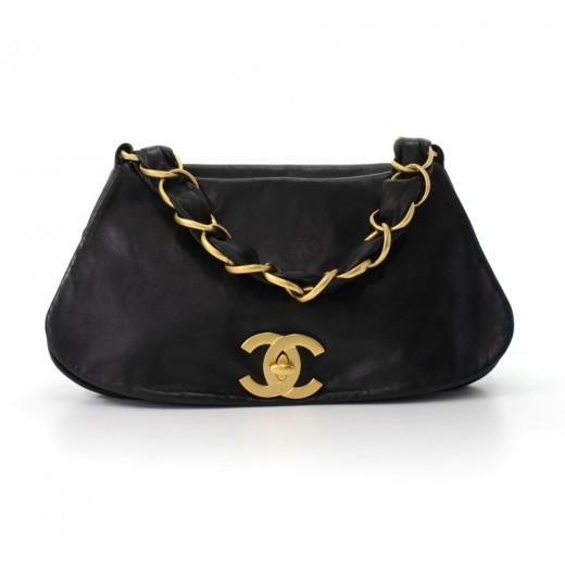 Chanel Chanel Black Lambskin Leather Large CC logo Flap Satchel bag 733839143bc15
