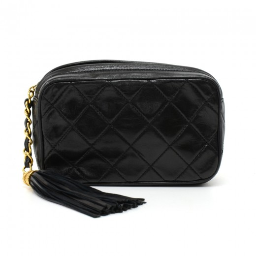 da25c5a7f2b609 Chanel Vintage Chanel Black Quilted Leather Tassel Small Pouch Bag