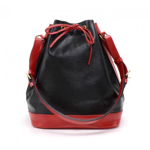 9f76be932892 Vintage Louis Vuitton Noe Large Red Black Vio Epi Leather Shoulder Bag