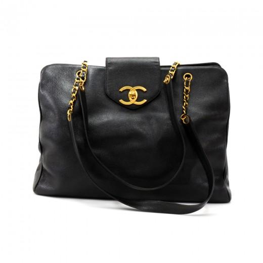 Chanel Chanel XL Supermodel Black Caviar Leather Shoulder Tote Bag f60ea9be4dfdf