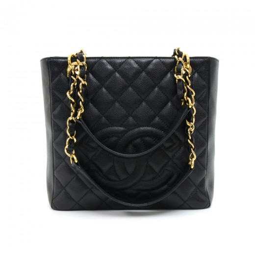 ba705806b067 Chanel Chanel Petite Shopper Tote (PST) Black Quilted Caviar Leather ...